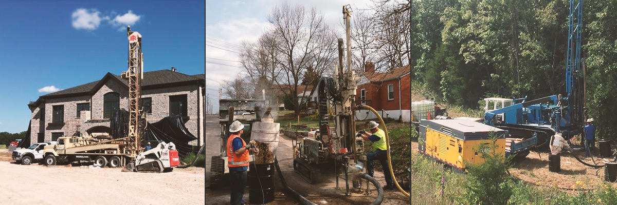 Air Rotary & Water Well Drilling equipment in and around homes, roads and forests.