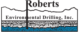 Roberts Environmental Drilling, Inc. logo showing a drill going through ground layers